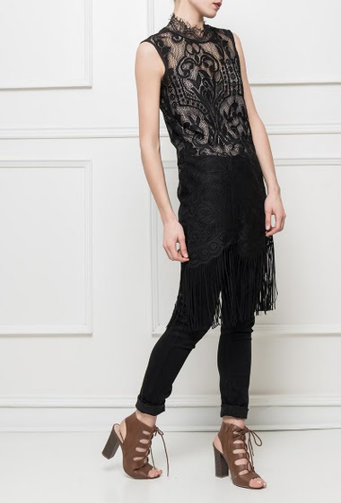 Lace tunic with fringe border