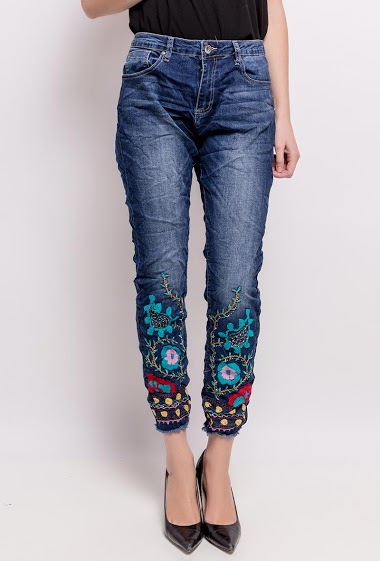 MOZZAAR  FOREVER jean with embroidery and rhinestones CIFA FASHION
