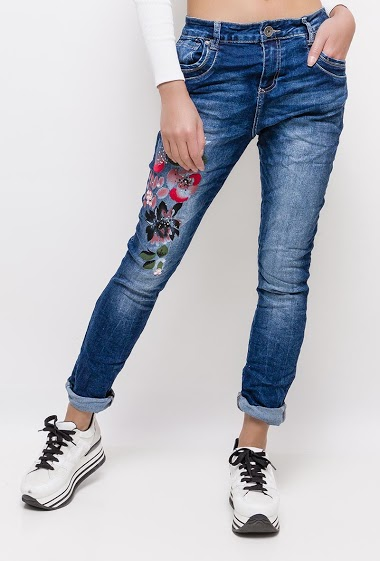 MOZZAAR  FOREVER jeans with flowers painted and embroidered CIFA FASHION