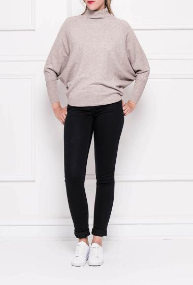 Soft knit pullover with batwing sleeves