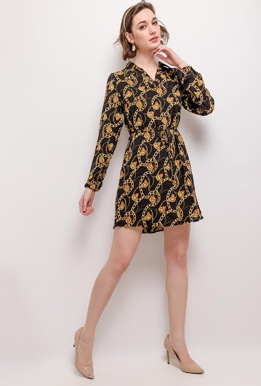 Shirt dress with printed chains