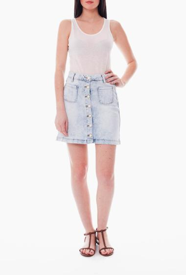 Short washed denim skirt with patch pockets