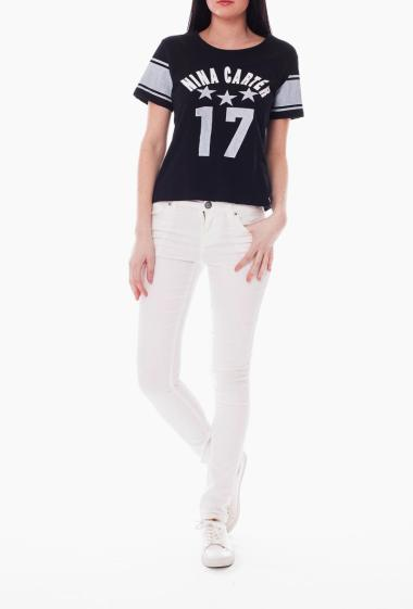 Printed jersey T-shirt Nina Carter, short sleeves