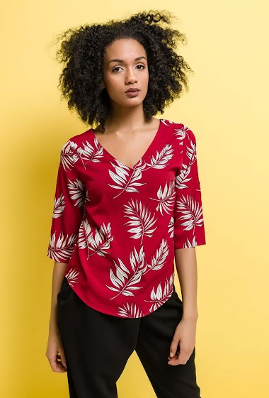 Blouse with tropical print