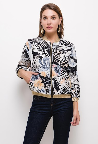 Printed tropical bomber