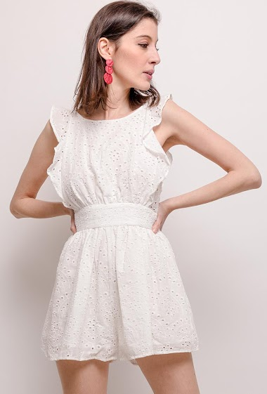 Embroidered and perforated playsuit
