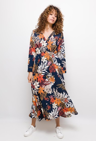Maxi dress with printed flowers