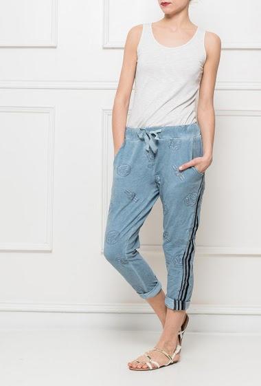 Pantalon décontracté avec imprimé pailleté, bande sur les côtés, taille élastique, poches