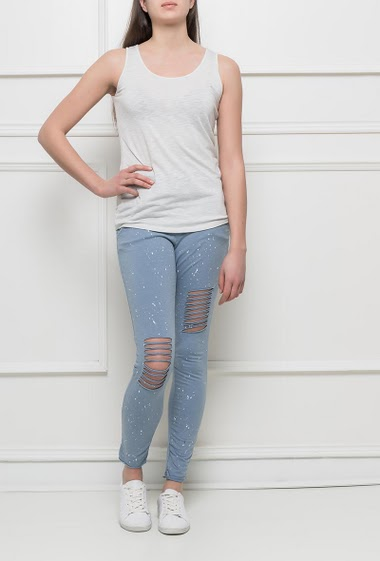 Pantalon en molleton à taille élastique, tâche de peinture, poches, genoux déchirés, coupe slim