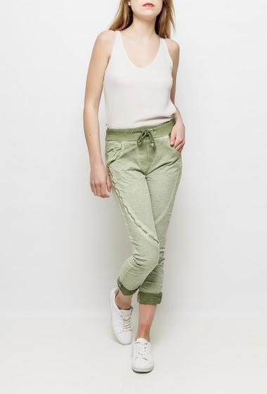 Pantalon de jogging en molleton, zip décoratif sur la jambe, molleton délavé, coupe décontractée TU correspond à T36/38
