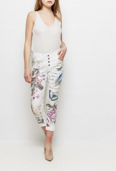 Pantalon stretch avec plumes et papillons imprimés, strass, fermeture boutonnée, poches, coupe slim