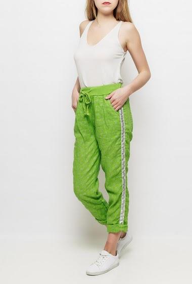 Pantalon en lin avec ancres imprimées, taille élastique, cordon de serrage, poches, bande argent sur les côtés - TU correspond à T38/40