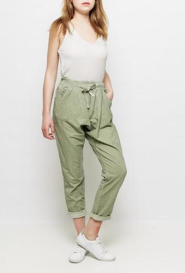 Pantalon de jogging en molleton délavé, poches, taille élastique, bande argent sur les côtés - TU correspond à T38/40