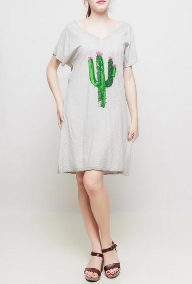 Robe t-shirt en coton, cactus imprimé, manches courtes, col V, tissu coton flammé, coupe déontractée - TU correspond à 38-40