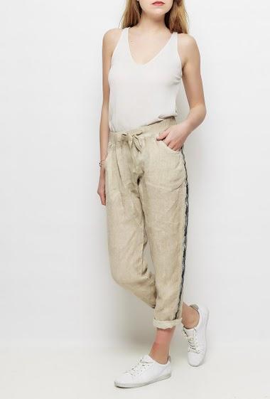 Pantalon en lin, poches, taille élastique, bande sur les côtés, TU correspond à T38/40