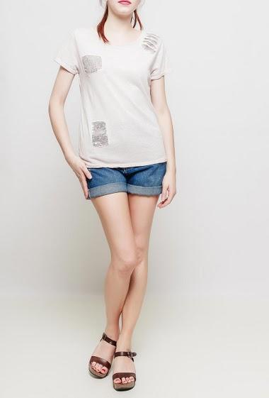 T-shirt en coton avec détail en sequins, manches courtes, coupe décontractée - TU correspond à 38-40