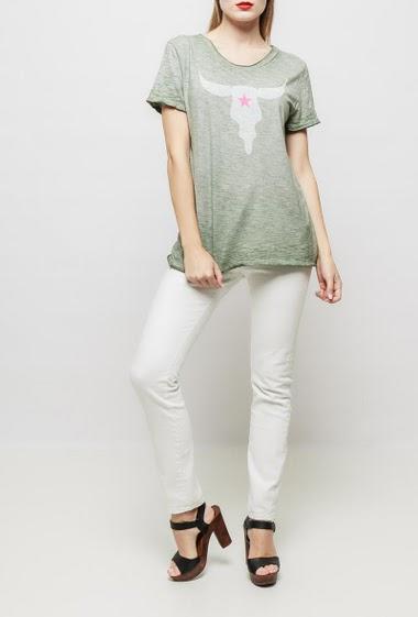T-shirt à manches courtes en coton, imprimé sur le devant, coupe droite et décontractée - TU correspond à T38