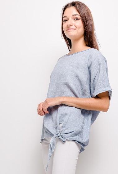 T-shirt col rond en lin avec un nœud