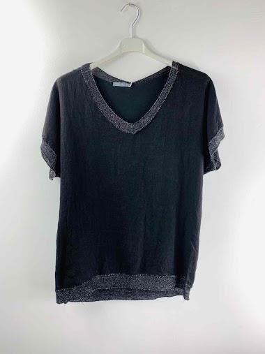 T-shirt en lin irisé de lurex