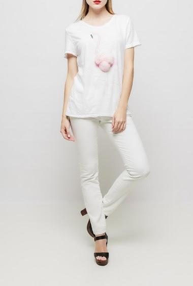 T-shirt en coton à manches courtes, flamand rose, pompons fantaisie -  TU correspond à T38/40