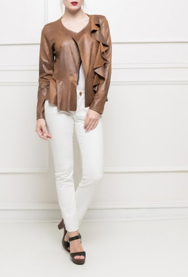 Suede jacket with ruffles, zip closure