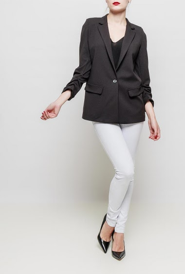 Blazer with pleated 3/4 sleeves, button closure, fancy lining, except for white jacket, padded shoulders, stretch fabric, regular fit