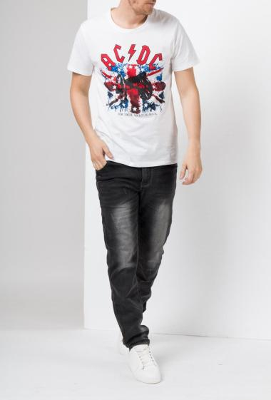 Jersey t-shirt with print, short sleeves -ACDC