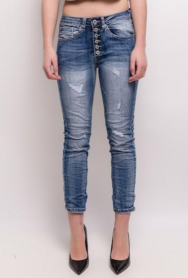 The model measures 165cm and wears S/8(UK) 36(FR) - High waist Boyfriend