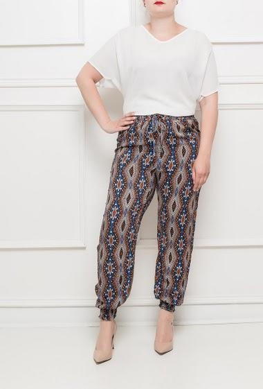 Pantalon imprimé en coton artificiel, chevilles ajustées, taille élastique - T46 correspond à T42 - taille petit