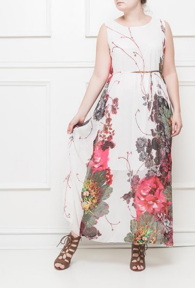 Printed sleeveless dress, belt
