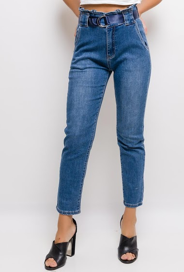 QUEEN HEARTS jean with pleated waist FASHION CENTER