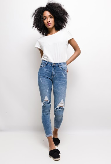QUEEN HEARTS jeans skinny déchiré FASHION CENTER