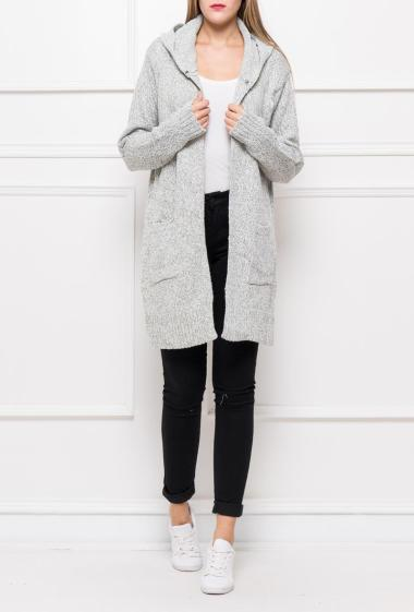 Open cardigan with hood, thick knit, pockets