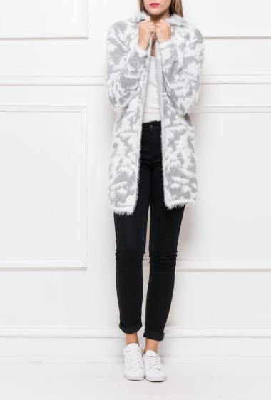 Open cardigan with hood in soft and bicolour pattern decorated with lurex