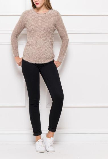 Soft pullover in fluffy knit, round collar