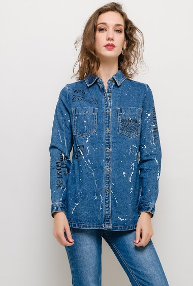 REDIAL denim shirt with print FASHION CENTER