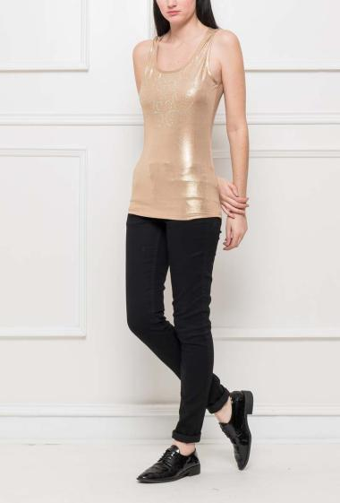 Tank top with strass, openworked back