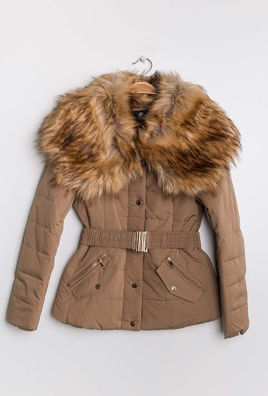 Quilted coat with fur collar