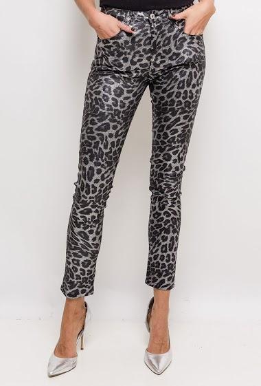 Coated leopard pants