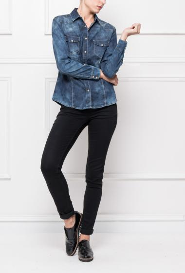 Faded denim shirt, casual fit