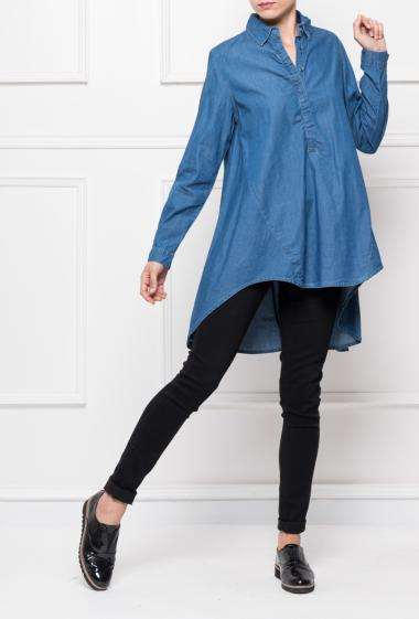 Denim tunic with buttoned collar, flared fit