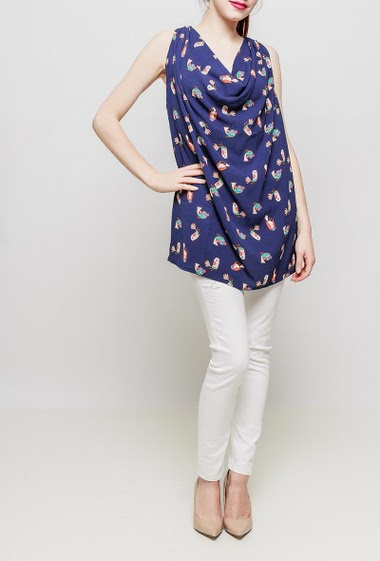Tunic with printed birds, draped collar, fluid fabric