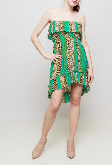 Off shoulder dress or tunic, leopard pattern, elastic waist, ruffle and asymmetric hem- TU corresponds to T38-40
