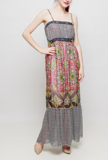 Printed maxi dress, adjustable straps, lining, waist decorated with fancy strass - TU corresponds to T38-40