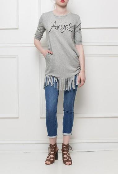 Tunique en jersey, bordure à franges, impression ANGELS ornée de strass, coupe droite, tissu extensible - style décontracté