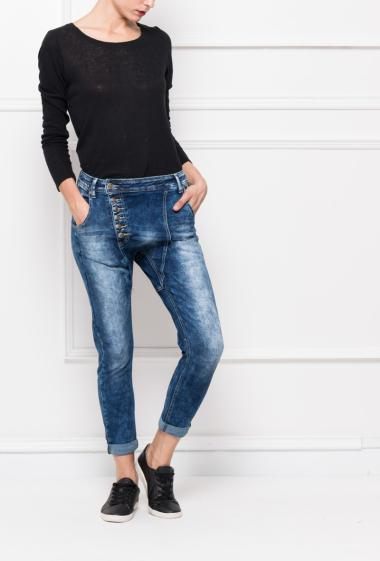 Faded jeans with buttoned closure, pockets, slim fit