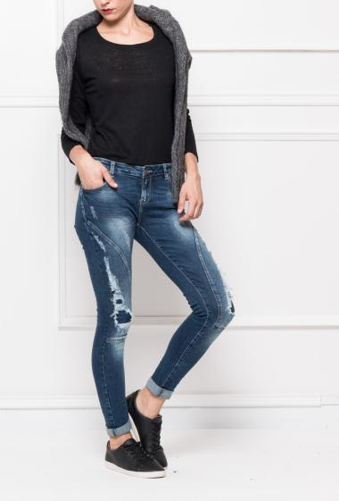 Ripped jeans with fancy cuts, slim fit