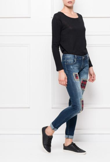 Jeans with strass and checked yoke,  slim fit