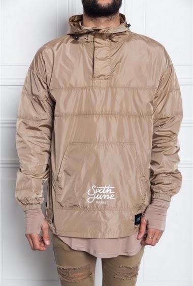 Rain jacket with hood sand Sixth June Men. Tone on tone. Logo flock printed.