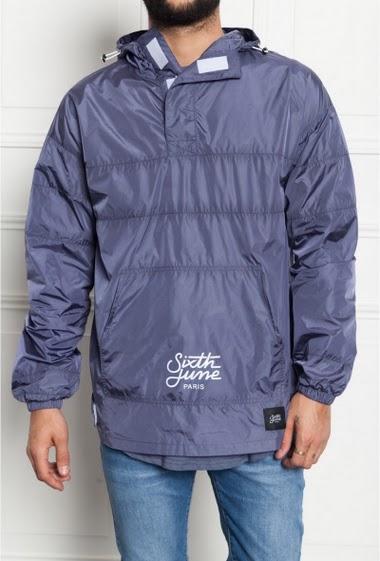 Rain jacket with hood blue Sixth June Men. Tone on tone. Logo flock printed.